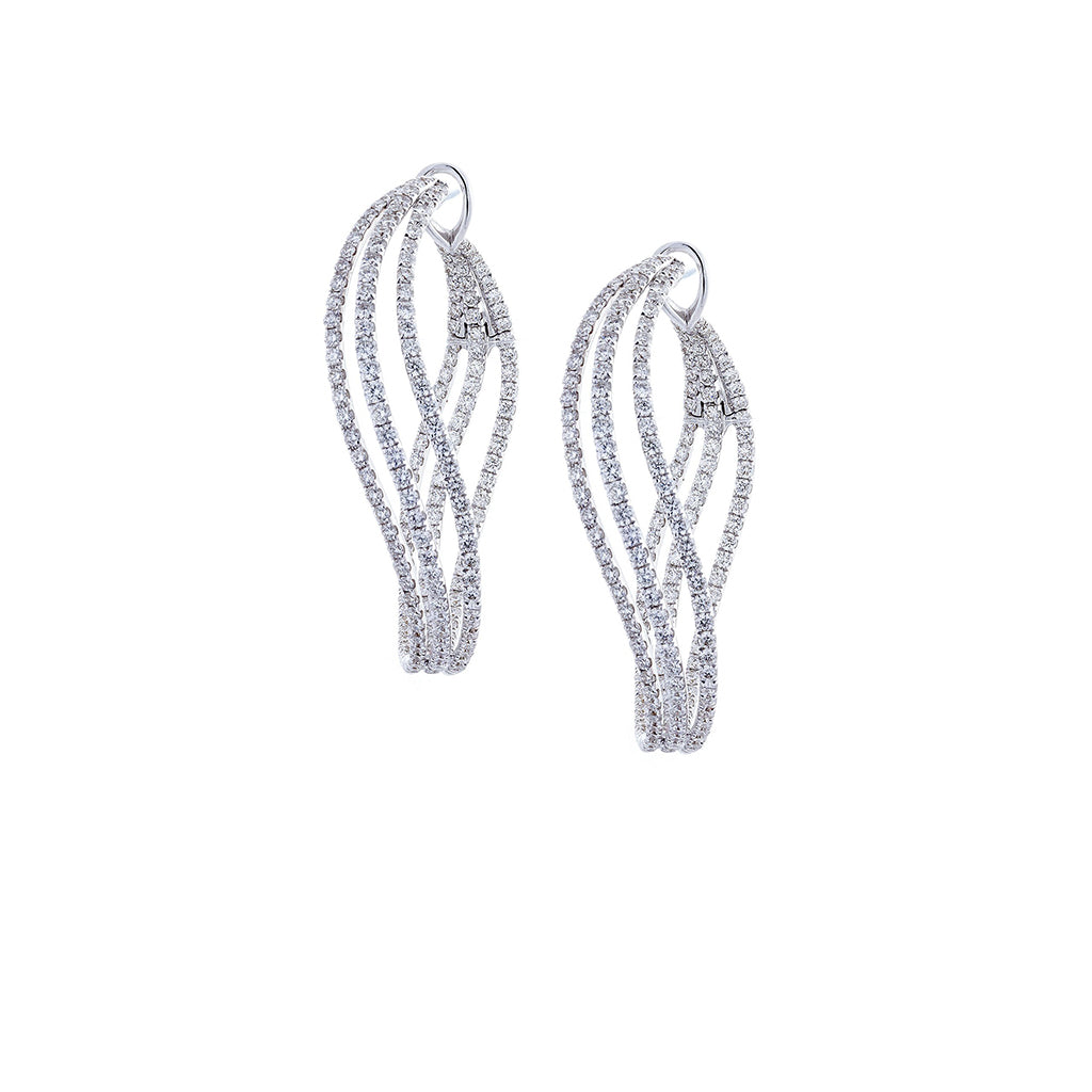 Diamond & 18K White Gold Tripple Twist Hoop Earrings
