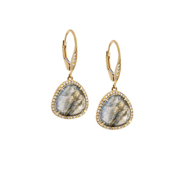 Diamond, Labradorite & 14K Yellow Gold Dangle Earrings - SOLD/CAN BE SPECIAL ORDERED WITH 4-6 WEEKS DELIVERY TIME FRAME