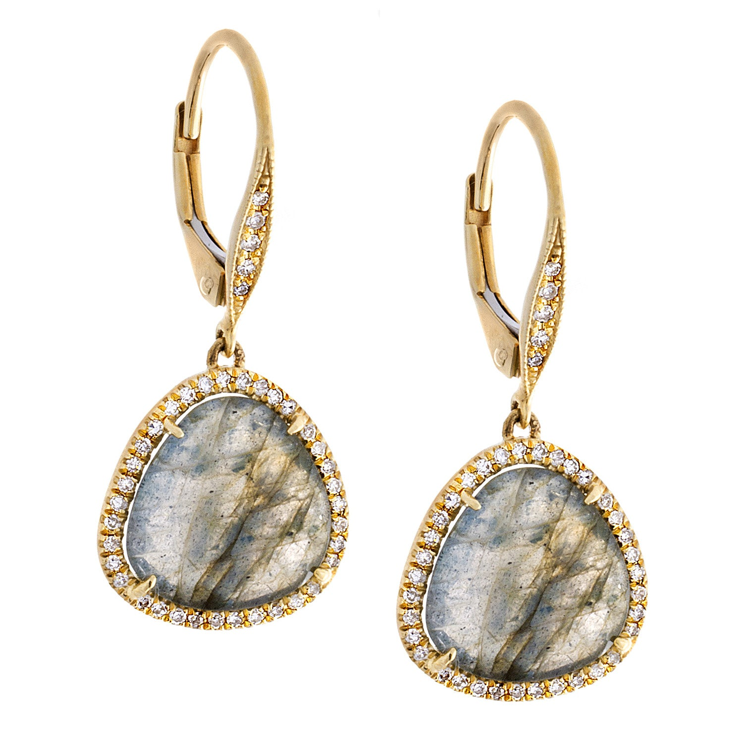 Diamond, Labradorite & 14K Yellow Gold Dangle Earrings