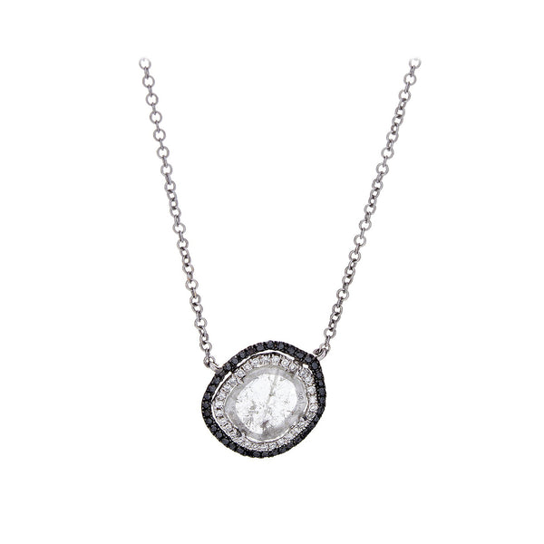 Sliced & Pave White/Black Diamond  White Gold Necklace - SOLD