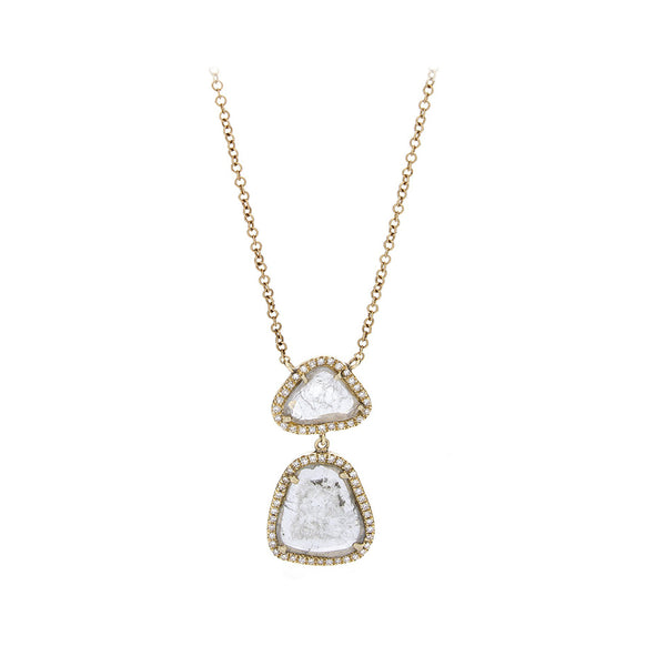 Sliced Diamond, Pavé & 14K Yellow Gold Adjustable Necklace