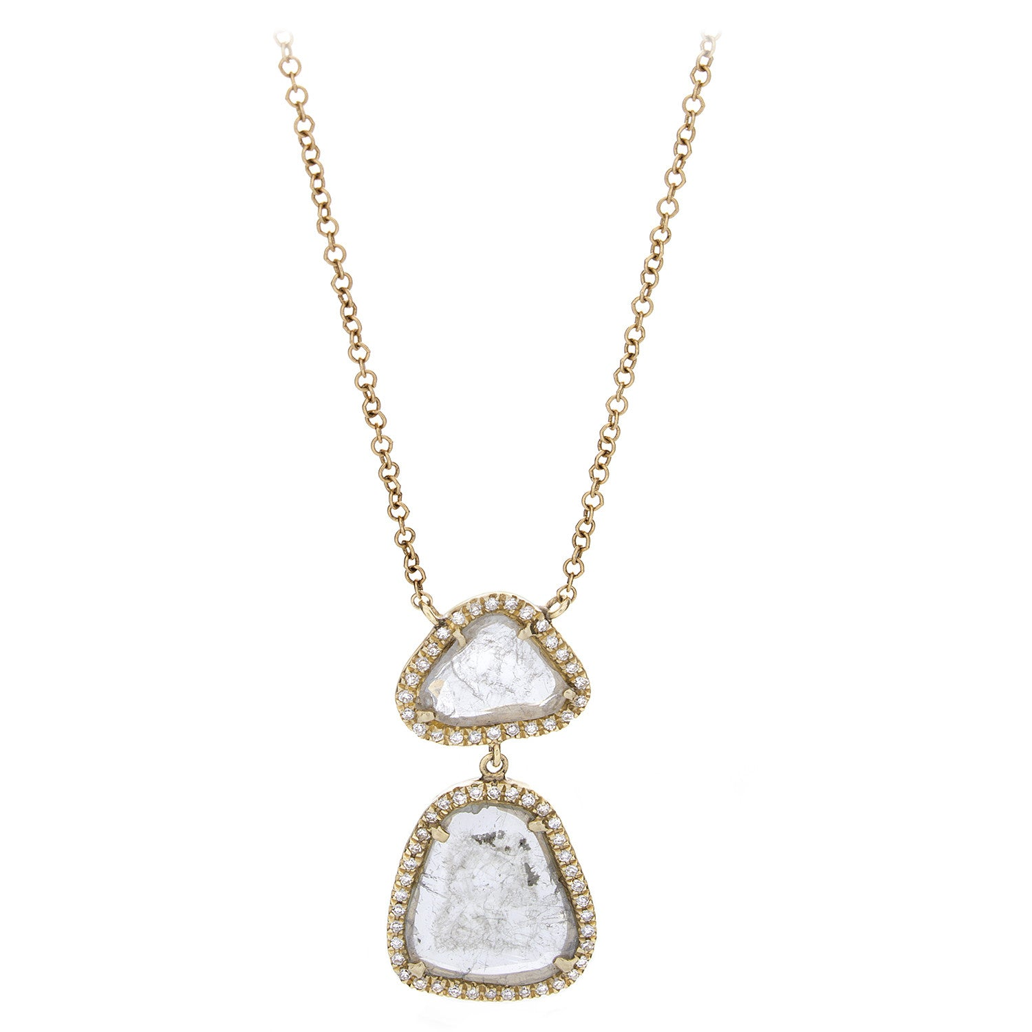 Sliced & Pave Diamond Yellow Gold Necklace