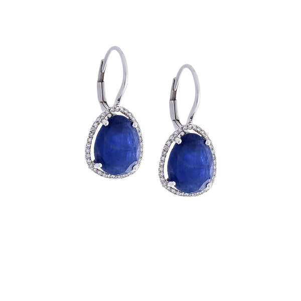 Pavé Diamond & Blue Sapphire 14K White Gold Dangle Earrings