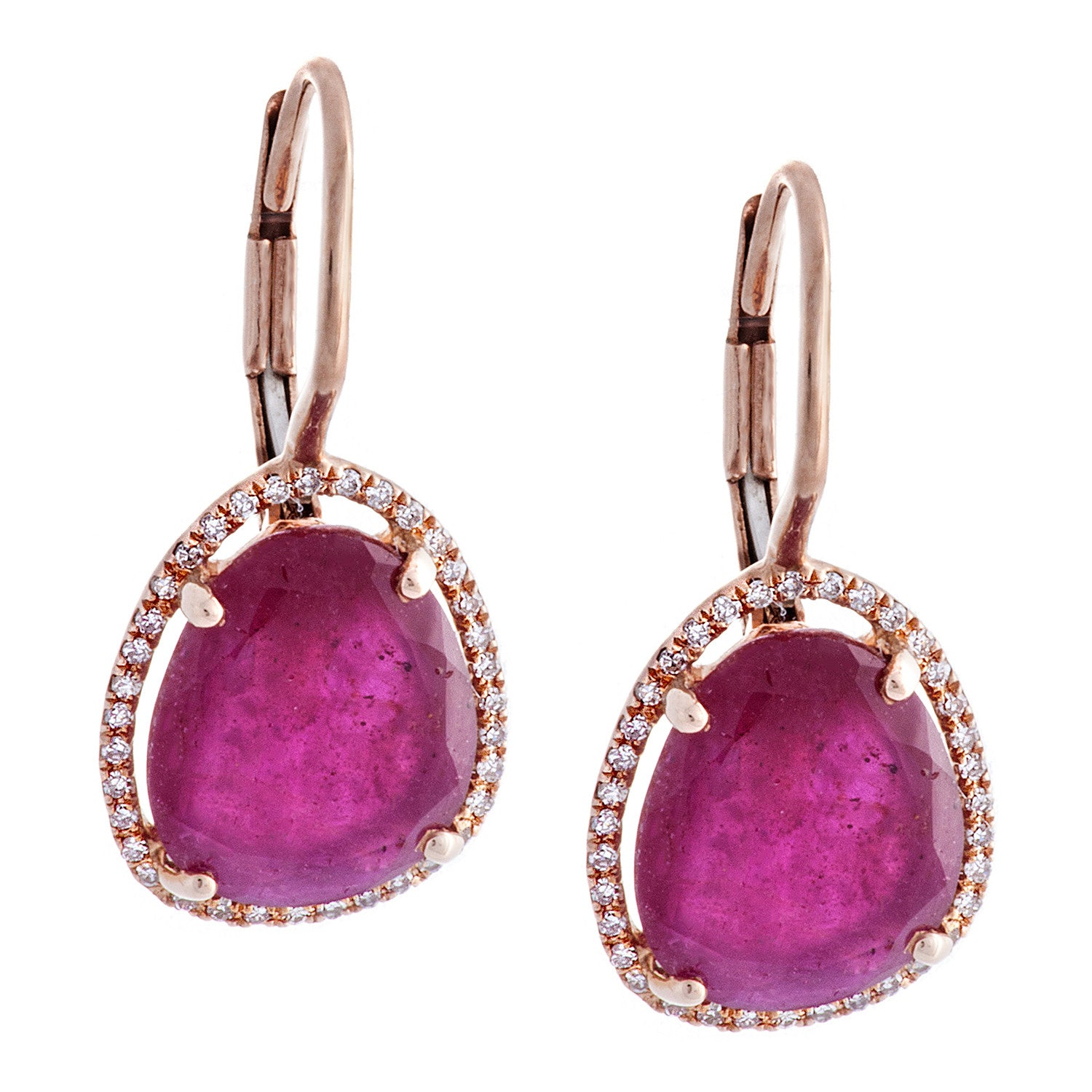 Pavé Diamond & Ruby 14K Rose Gold Dangle Earrings