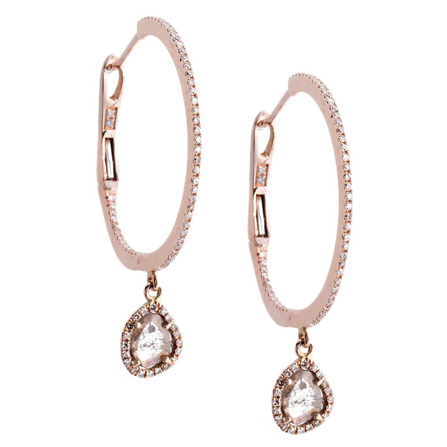 Diamonds & 14K Rose Gold Hoop Earrings- SOLD/CAN BE SPECIAL ORDERED WITH 4-6 WEEKS DELIVERY TIME FRAME