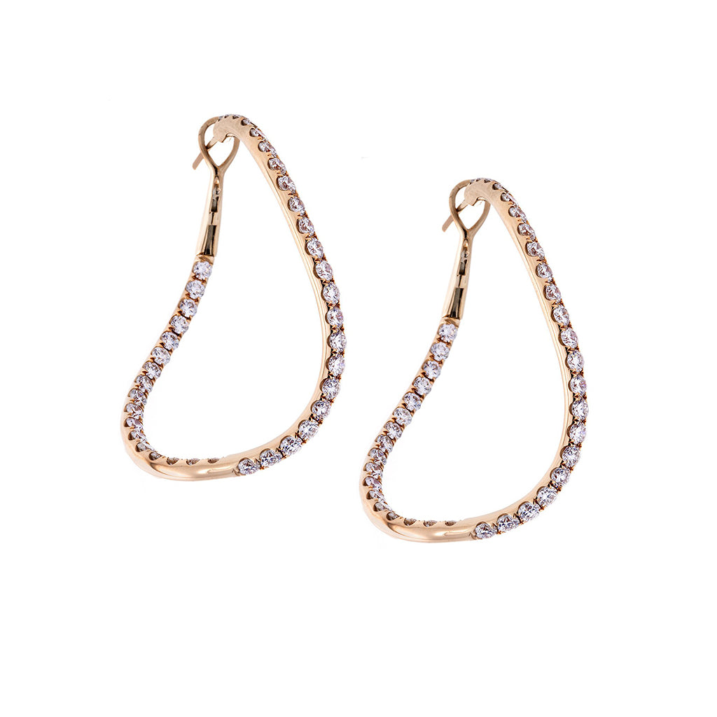 Diamond & 18K Rose Gold Curved Hoop Earrings