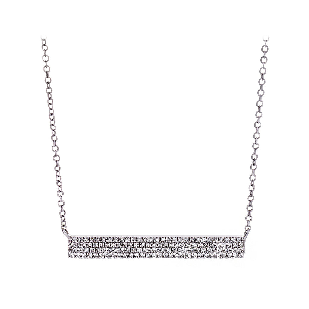 Diamond Pavé & 14K White Gold Bar Necklace