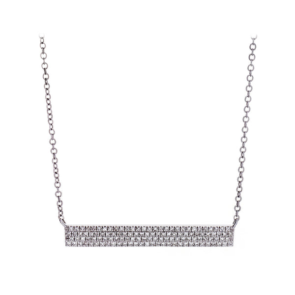 Diamond Pavé & 14K White Gold Bar Necklace - SOLD/CAN BE SPECIAL ORDERED WITH 4-6 WEEKS DELIVERY TIME FRAME