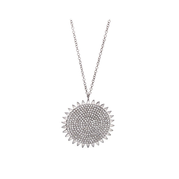 Diamond & 14K White Gold Sun Medallion Pendant Necklace