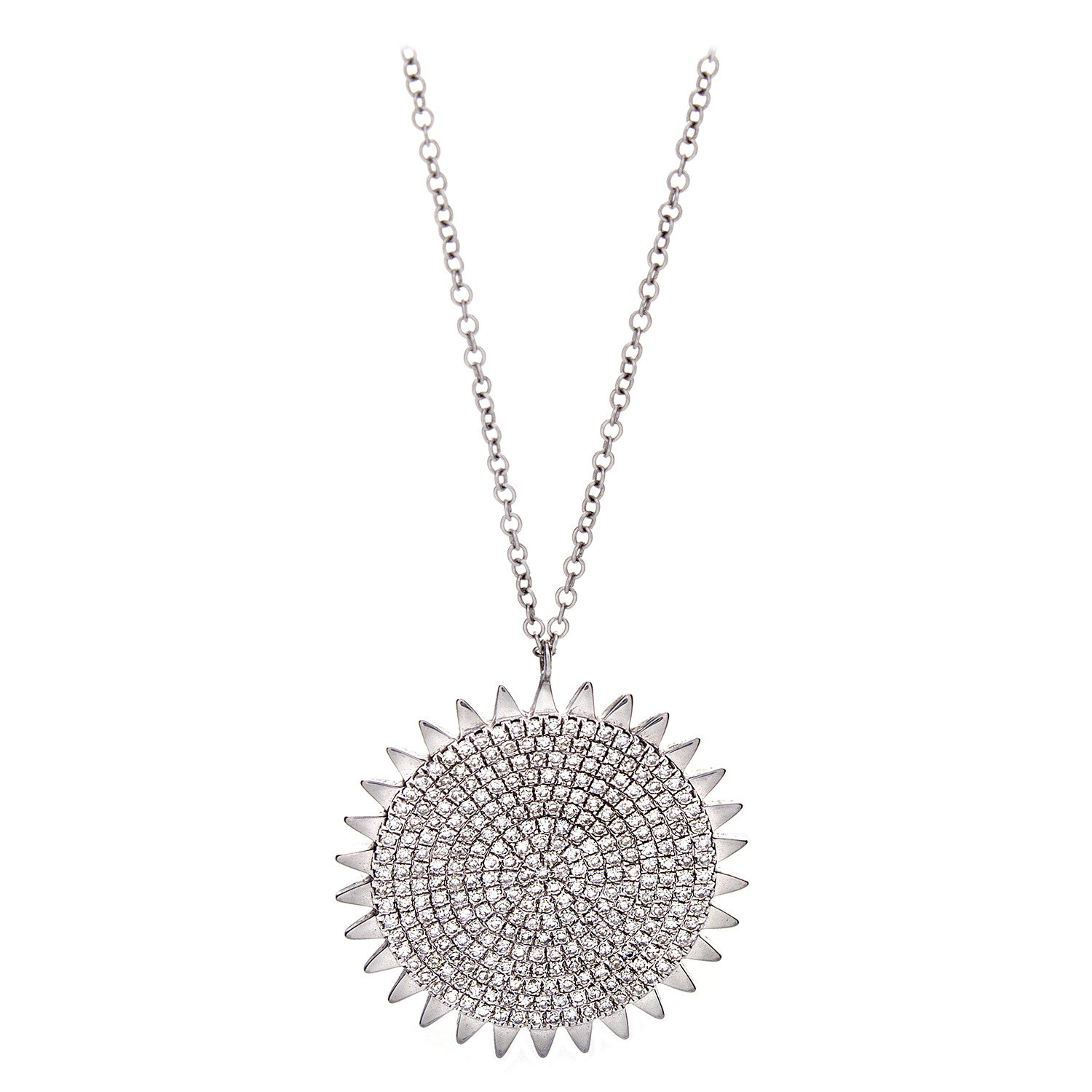 Diamond & 14K White Gold Sun Medallion Pendant Necklace - SOLD/CAN BE SPECIAL ORDERED WITH 4-6 WEEKS DELIVERY TIME FRAME