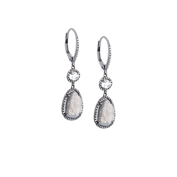 White Topaz, Labradorite, Diamond & 14K Blackened White Gold Double Drop Earrings