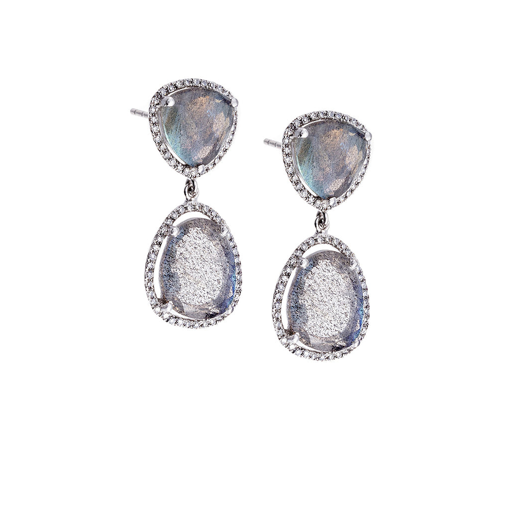 Labradorite, Diamond & 14K White Gold Double Drop Earrings
