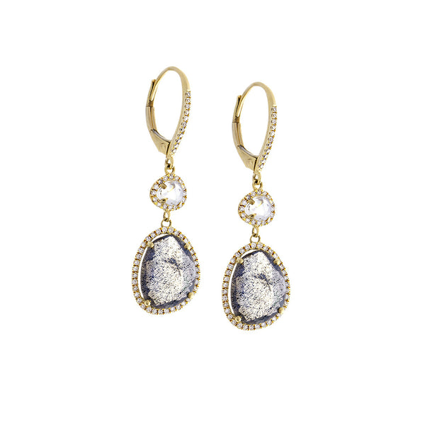 White Topaz, Labradorite, Diamond & 14K Yellow Gold Double Drop Earrings - SOLD/CAN BE SPECIAL ORDERED WITH 4-6 WEEKS DELIVERY TIME FRAME