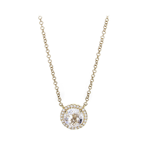 Diamond Pavé & White Topaz 14K Yellow Gold Necklace - SOLD/CAN BE SPECIAL ORDERED WITH 4-6 WEEKS DELIVERY TIME FRAME