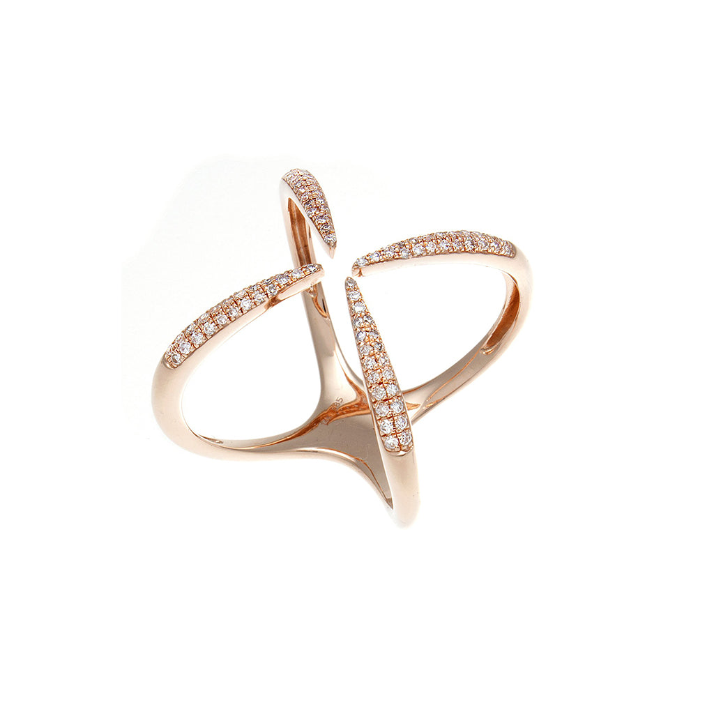 Diamond Open X 14K Rose Gold Ring