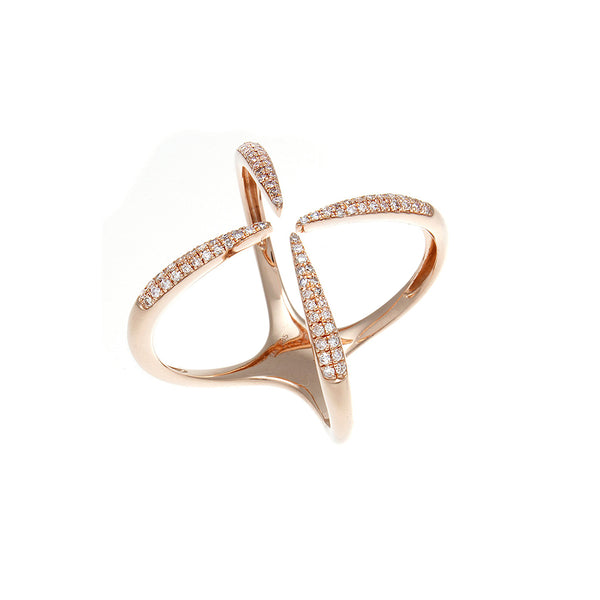 Diamond Open X 14K Rose Gold Ring -SOLD/CAN BE SPECIAL ORDERED WITH 4-6 WEEKS DELIVERY TIME FRAME
