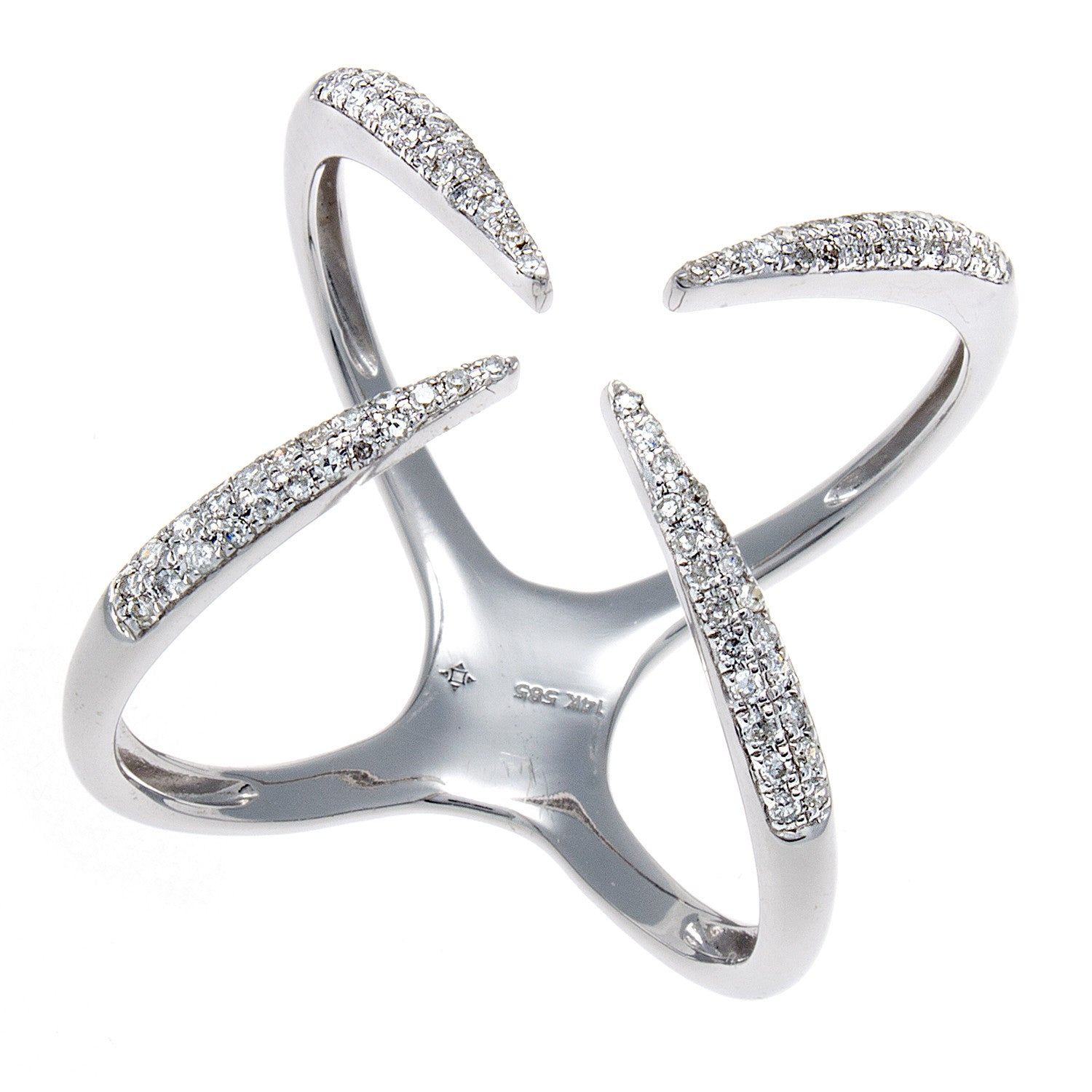Diamond Open X White Gold  Ring-SOLD/CAN BE SPECIAL ORDERED WITH 4-6 WEEKS DELIVERY TIME FRAME