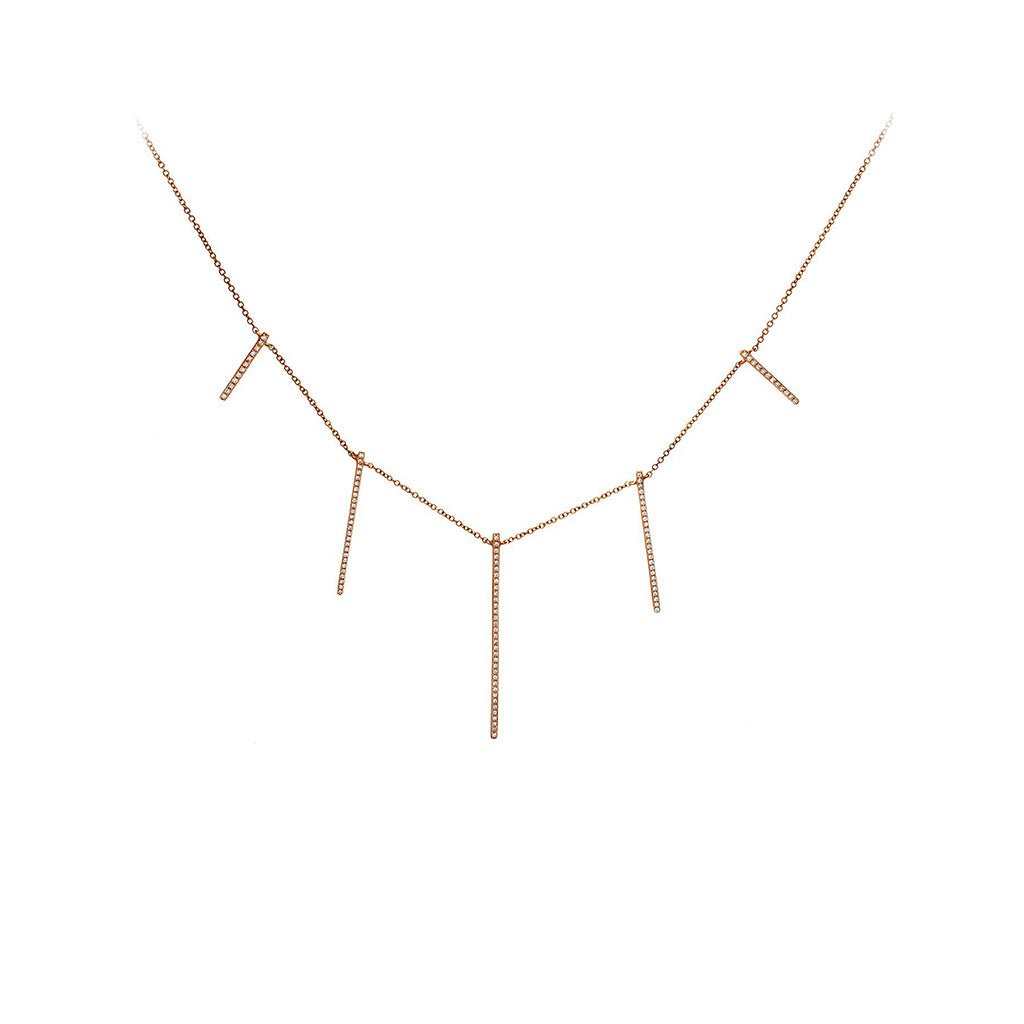Diamond Pavé & 14K Rose Gold Five Bar Necklace