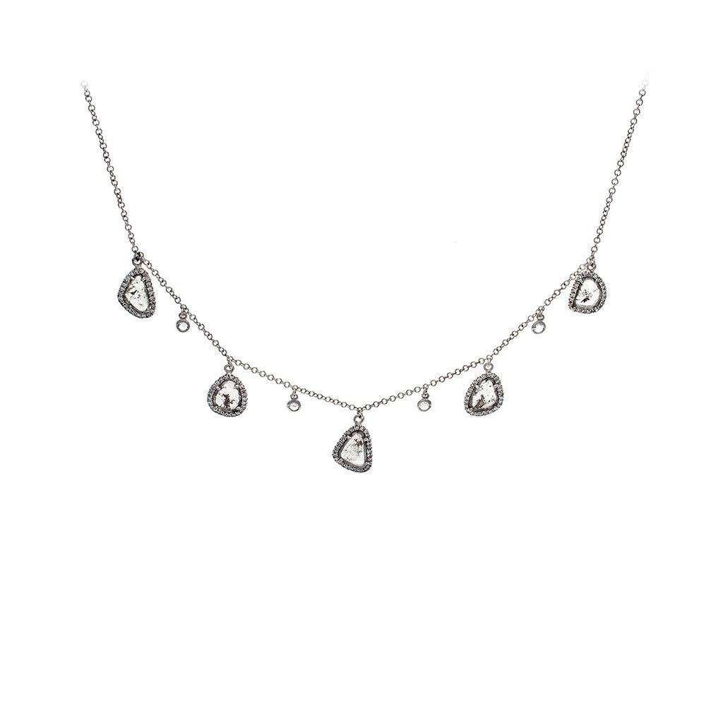 Sliced Diamond, Pavé & 14K White Gold Scatter Chain Necklace