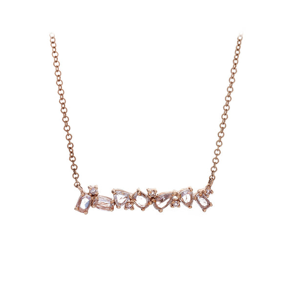 Rose Cut Diamond, Pavé & 14K Rose Gold Scatter Bar Necklace - SOLD/CAN BE SPECIAL ORDERED WITH 4-6 WEEKS DELIVERY TIME FRAME