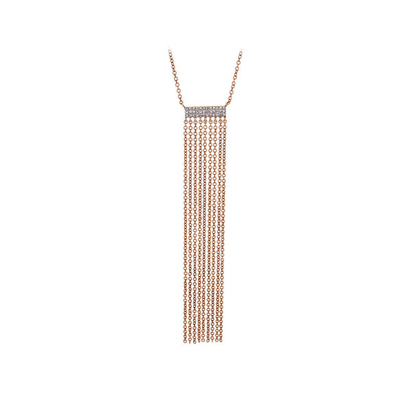 Pavé Diamond & 14K Rose Gold Fringe Chain Necklace