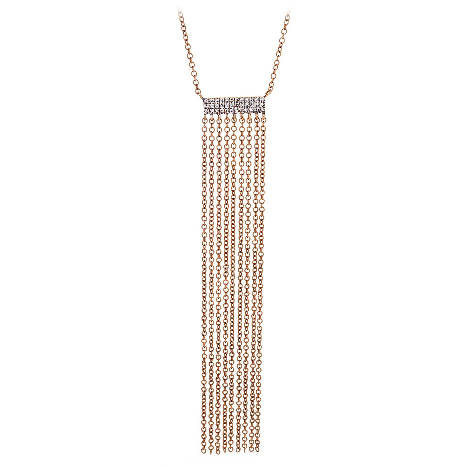 Diamond & Chain Fringe Necklace