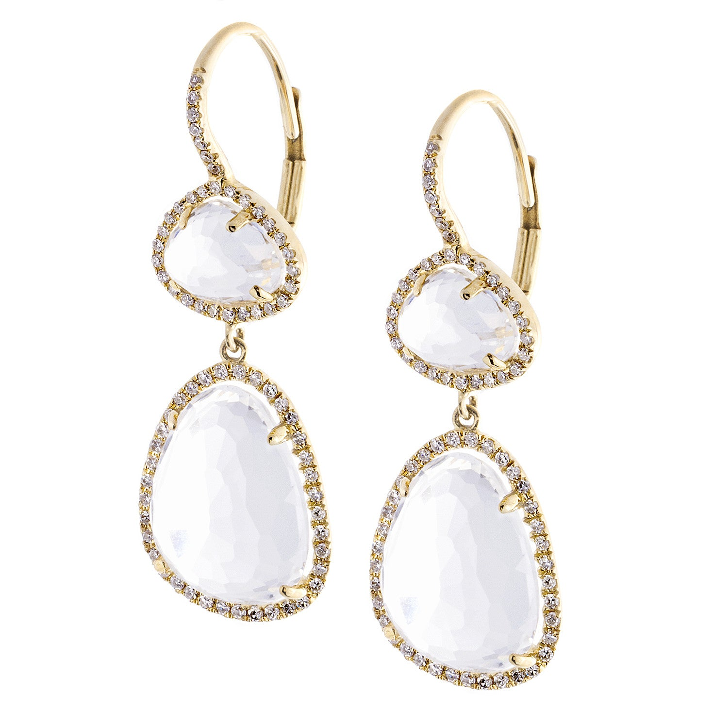 White Topaz, Diamond & 14K Yellow Gold Double Drop Earrings