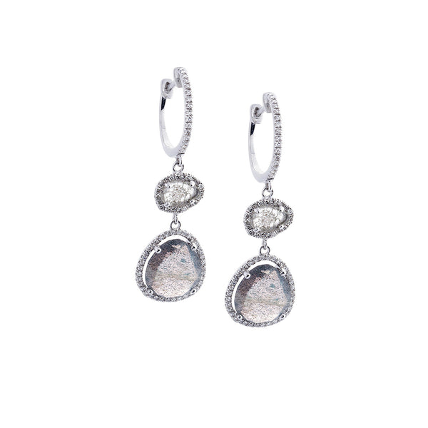 Labradorite, Diamond & 14K White Gold Double Drop Earrings-SOLD/CAN BE SPECIAL ORDERED WITH 4-6 WEEKS DELIVERY TIME FRAME
