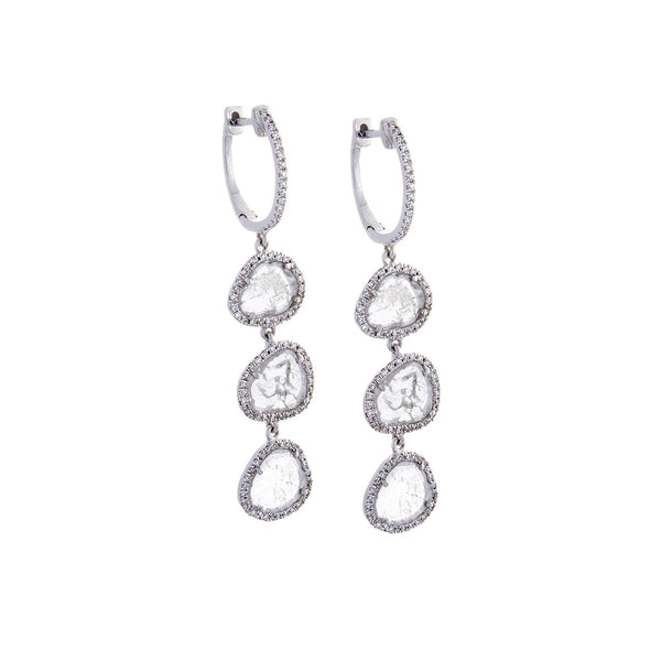 Sliced Diamond, Pavé & 14K White Gold Triple Drop Earrings - SOLD