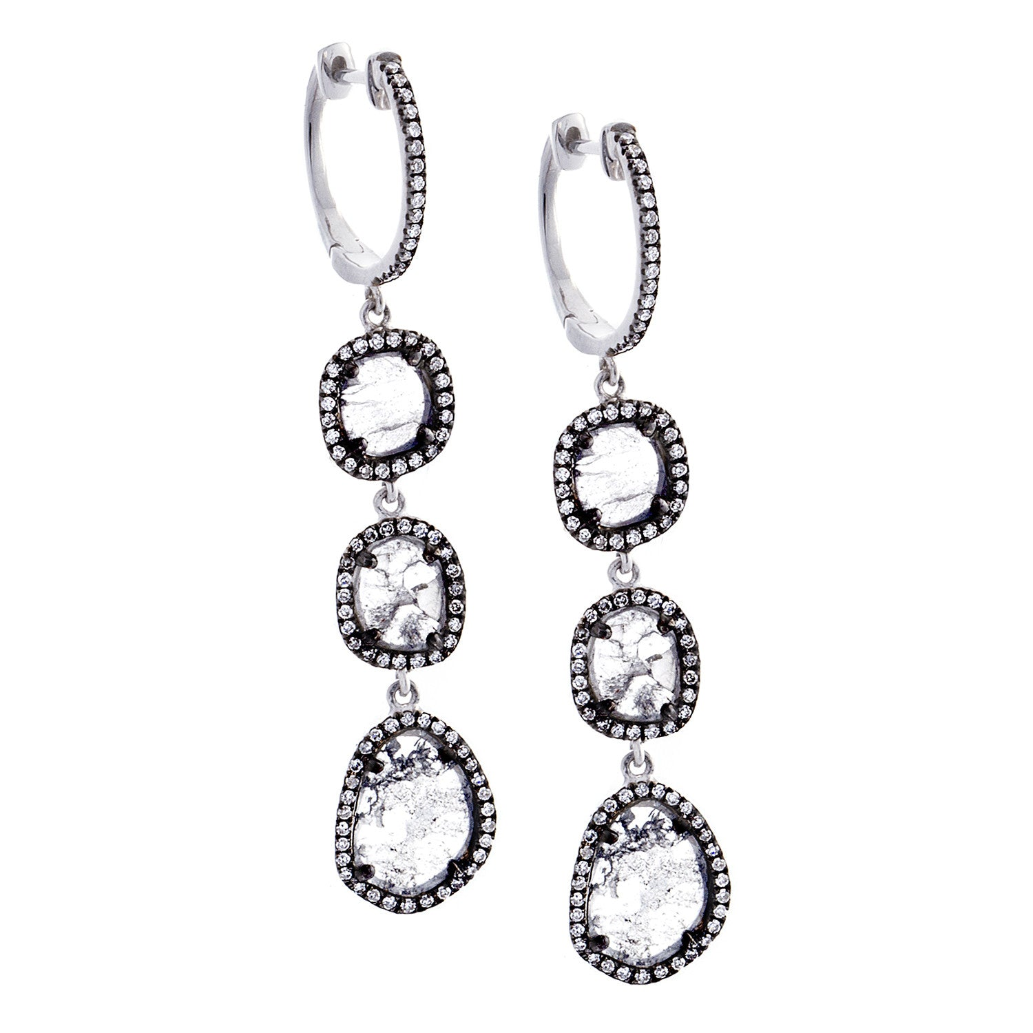 Sliced Diamond, Pavé & 14K Blackened White Gold Triple Drop Earrings