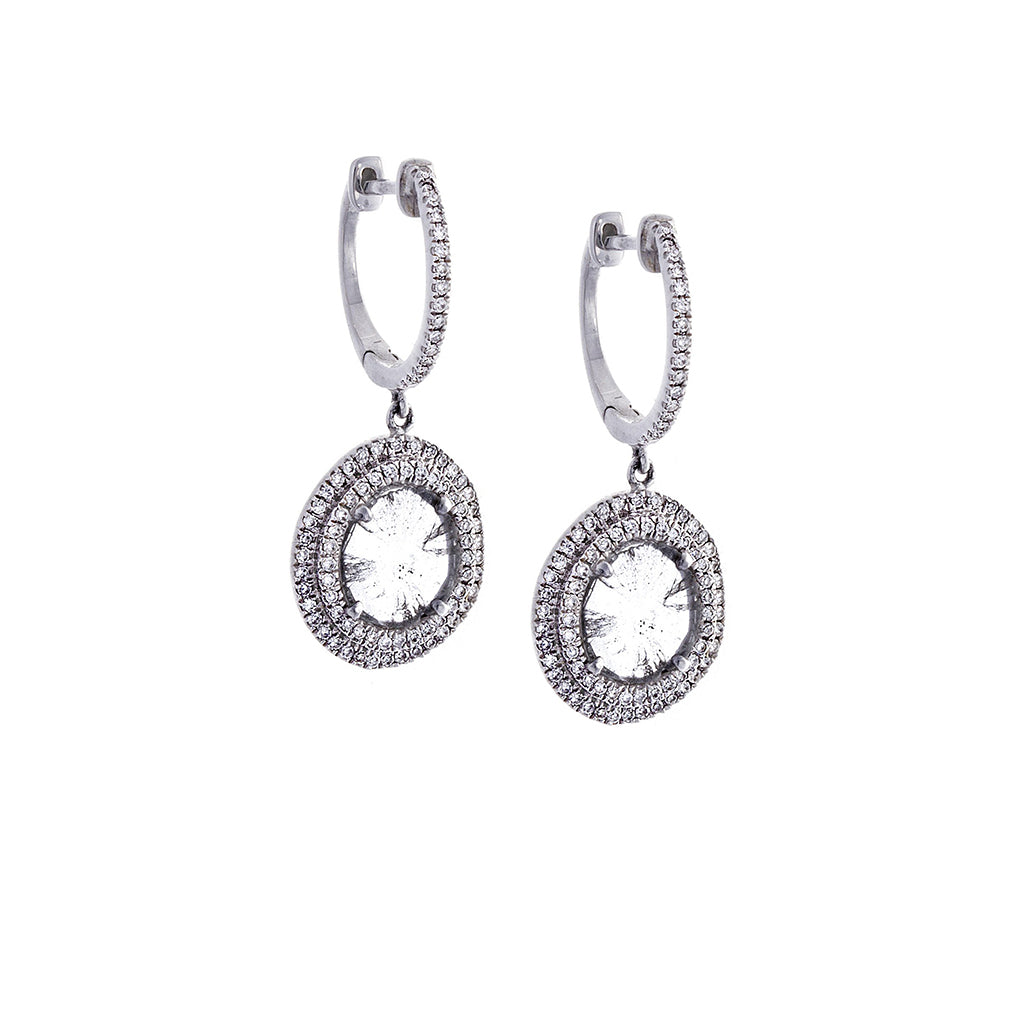 Sliced Diamond, Pavé & 14K White Gold Drop Earrings