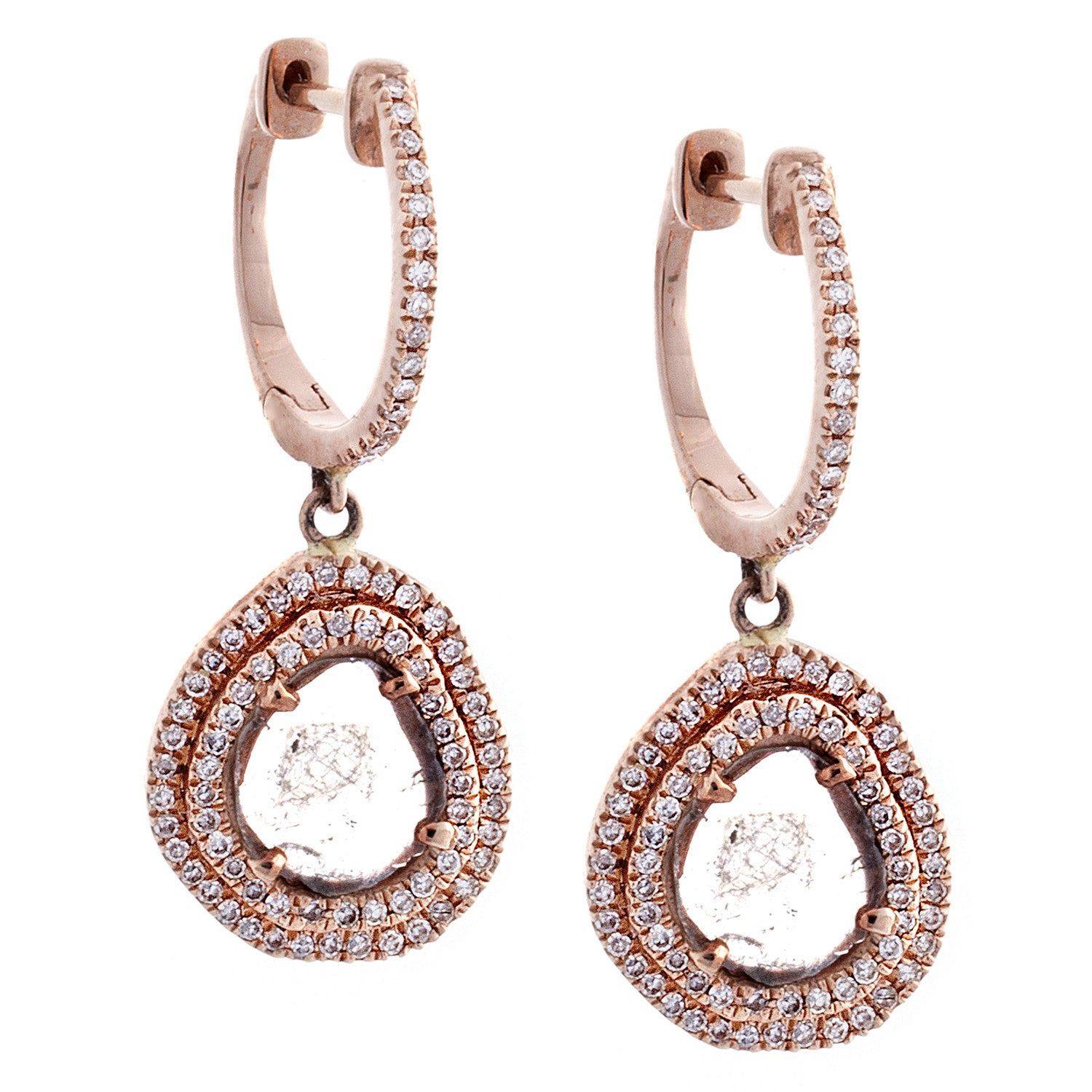 Sliced Diamond, Pavé & 14K Rose Gold Drop Earrings-SOLD/CAN BE SPECIAL ORDERED WITH 4-6 WEEKS DELIVERY TIME FRAME