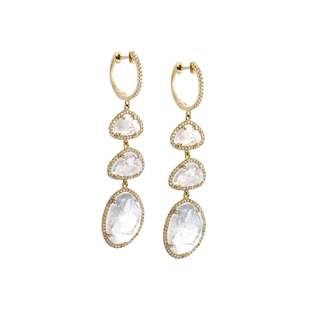 Moon Stone, Pavé Diamond & 14K Yellow Gold Drop Earrings