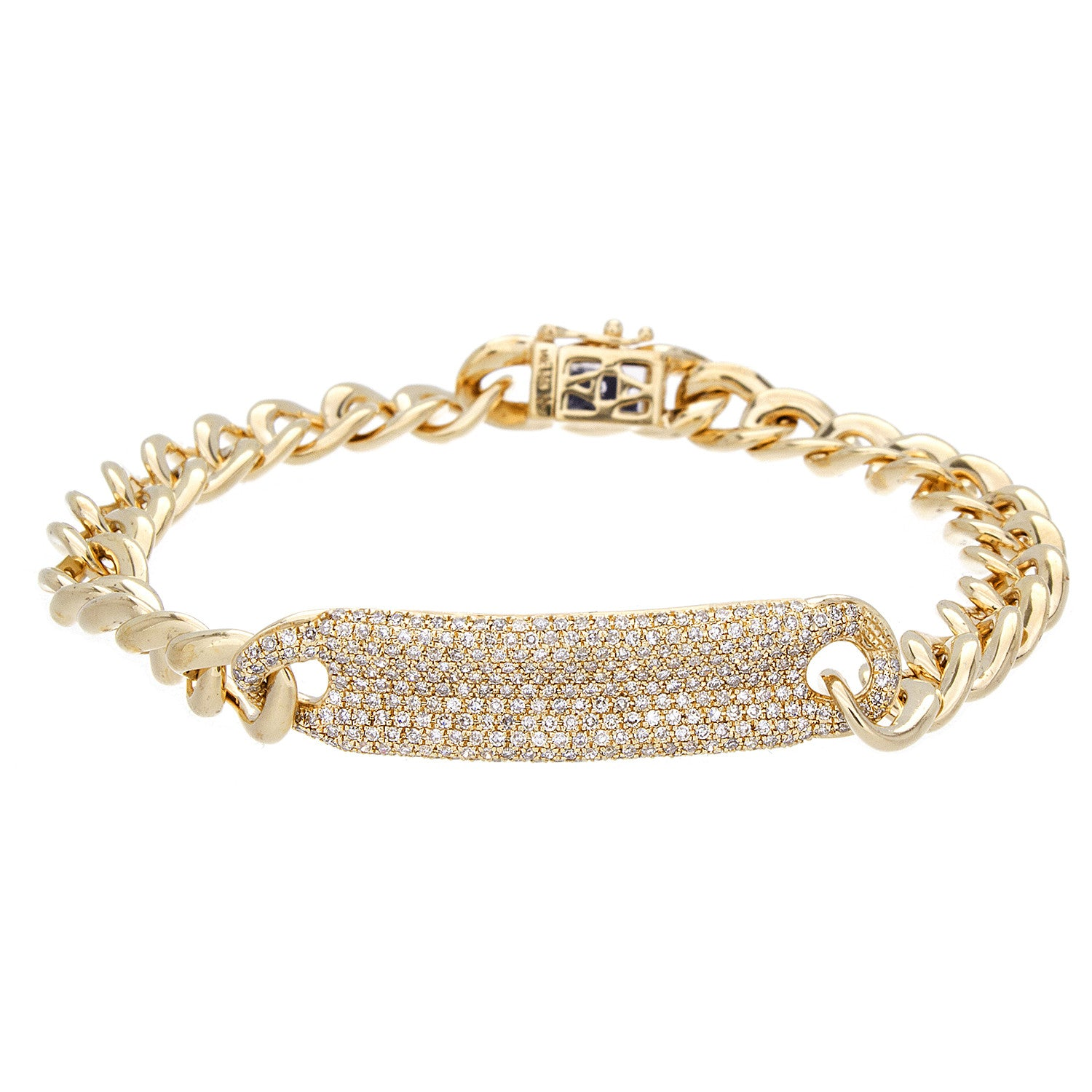 Diamond & 14K Yellow Gold ID Bracelet