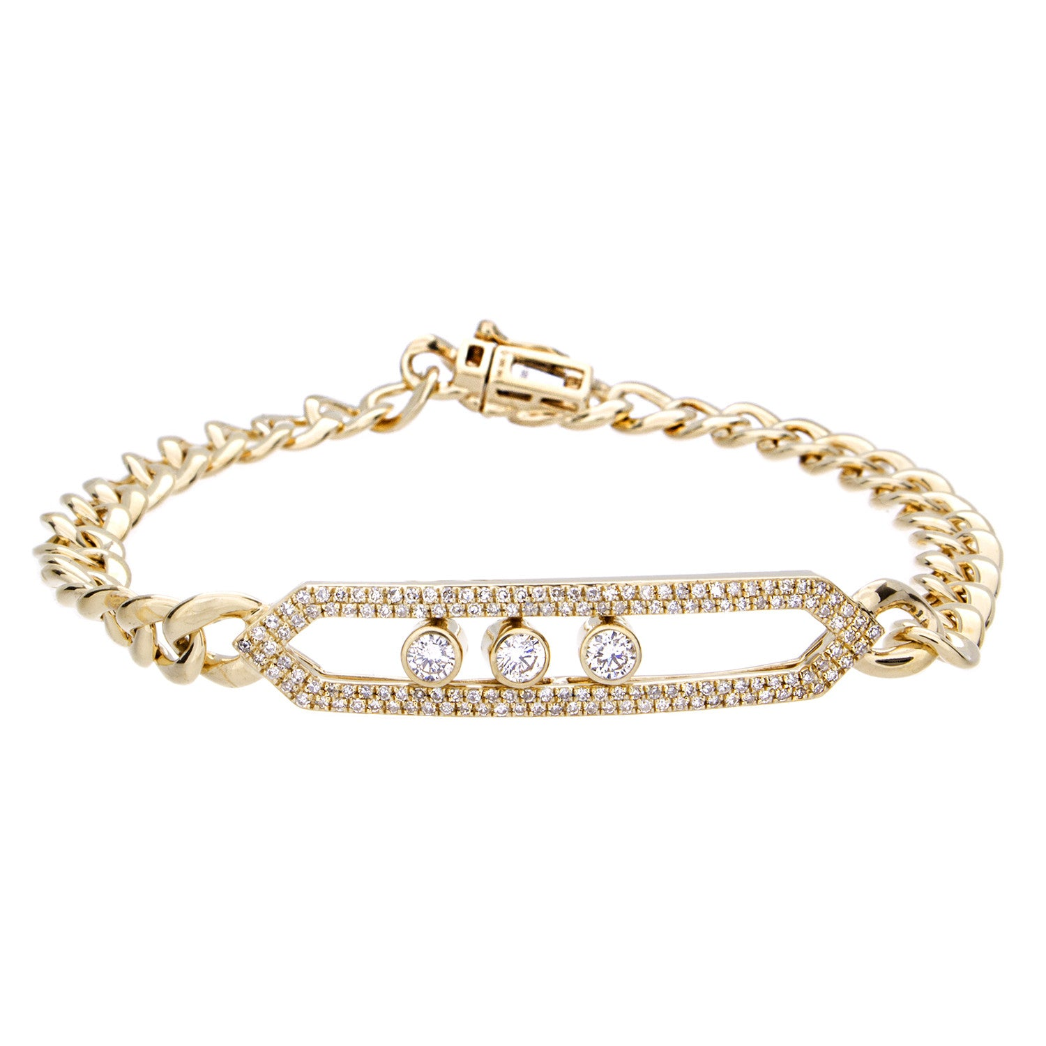 Diamond Link Bracelet - 14K Yellow Gold