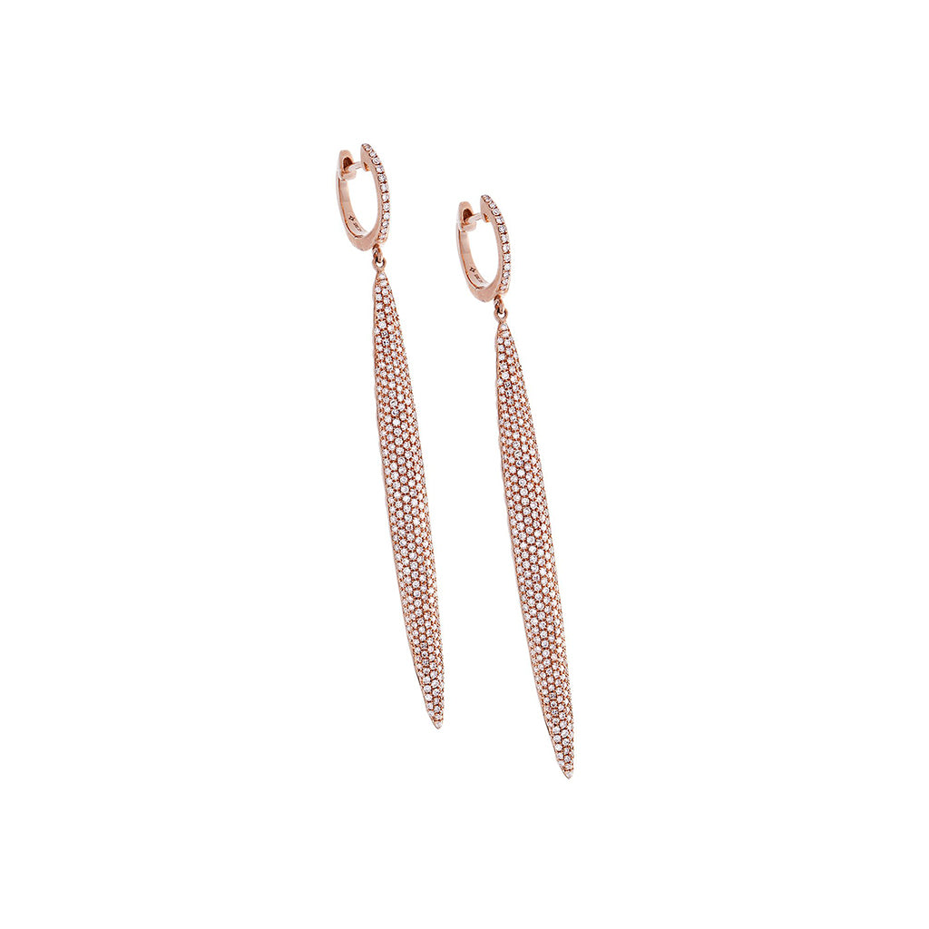 Diamond Pavé & 14K Rose Gold Drop Earrings - SOLD/CAN BE SPECIAL ORDERED WITH 4-6 WEEKS DELIVERY TIME FRAME