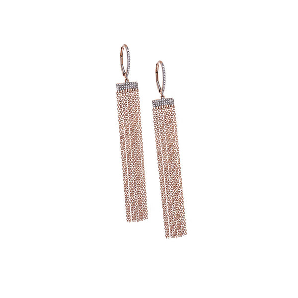 Pavé Diamond & 14K Rose Gold Fringe Chain Earrings