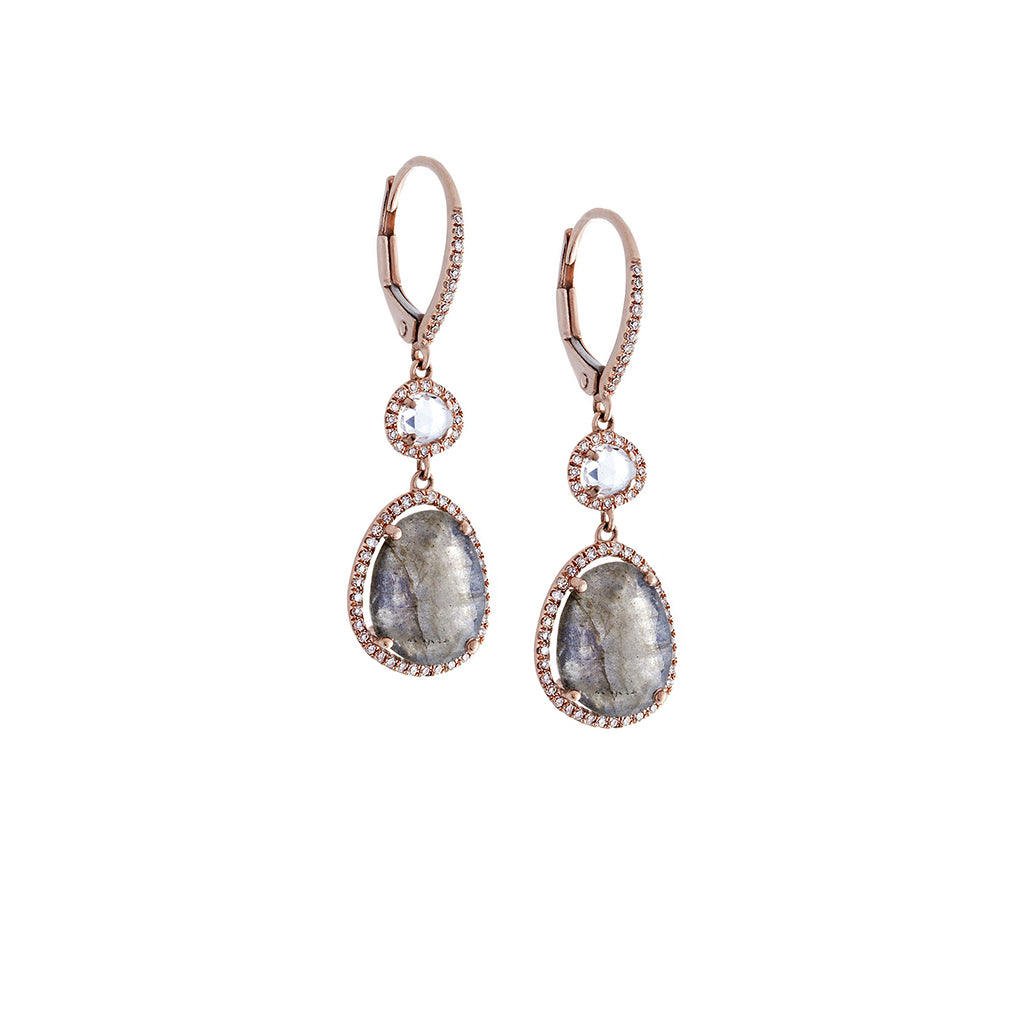 White Topaz, Labradorite, Pavé Diamond & 14K Rose Gold Drop Earrings