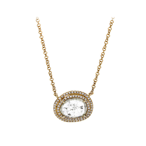 Sliced & Pave Diamond 14K Yellow Gold Necklace