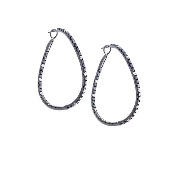 White & Black Diamonds 18K Oxidized White Twisted Hoop Earrings