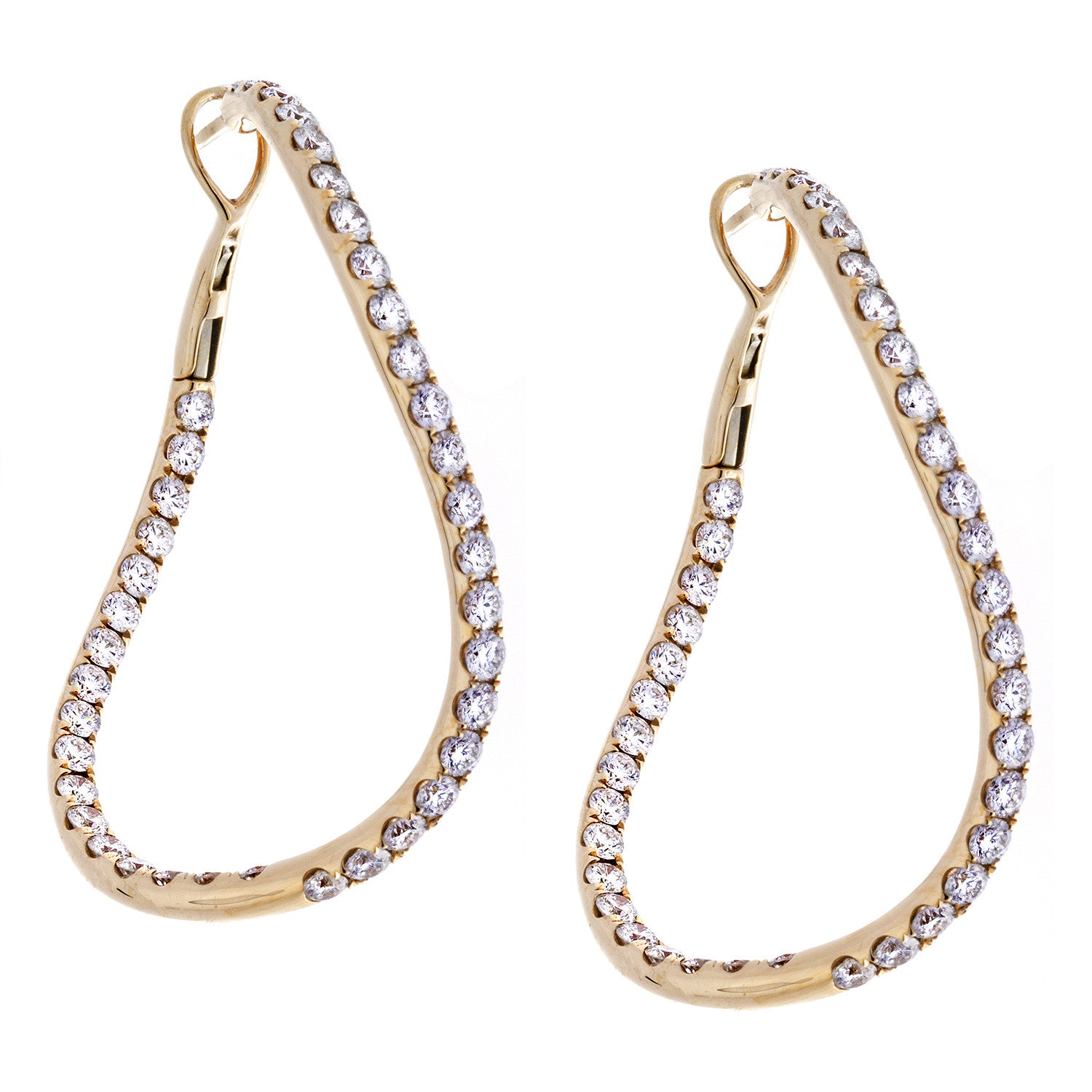 Diamond & 18K Rose Gold Tweested Hoop Earrings