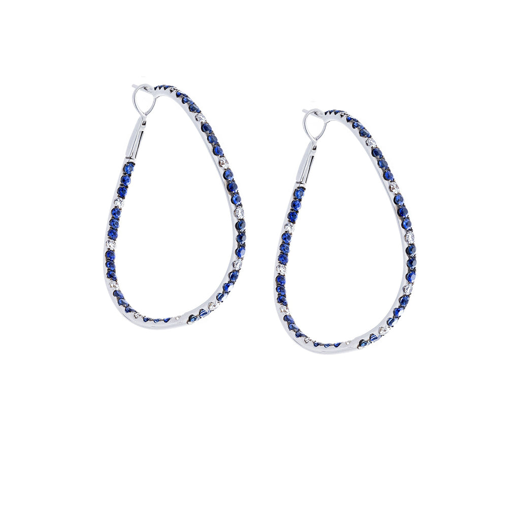Blue Sapphires & Diamonds 18K White Gold Twisted Hoop Earrings