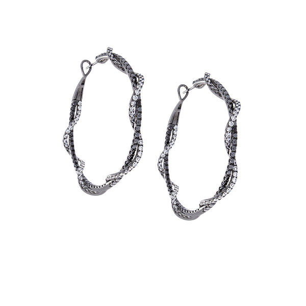 Pavé & Black Diamond 18K White Gold Braided Hoop Earrings
