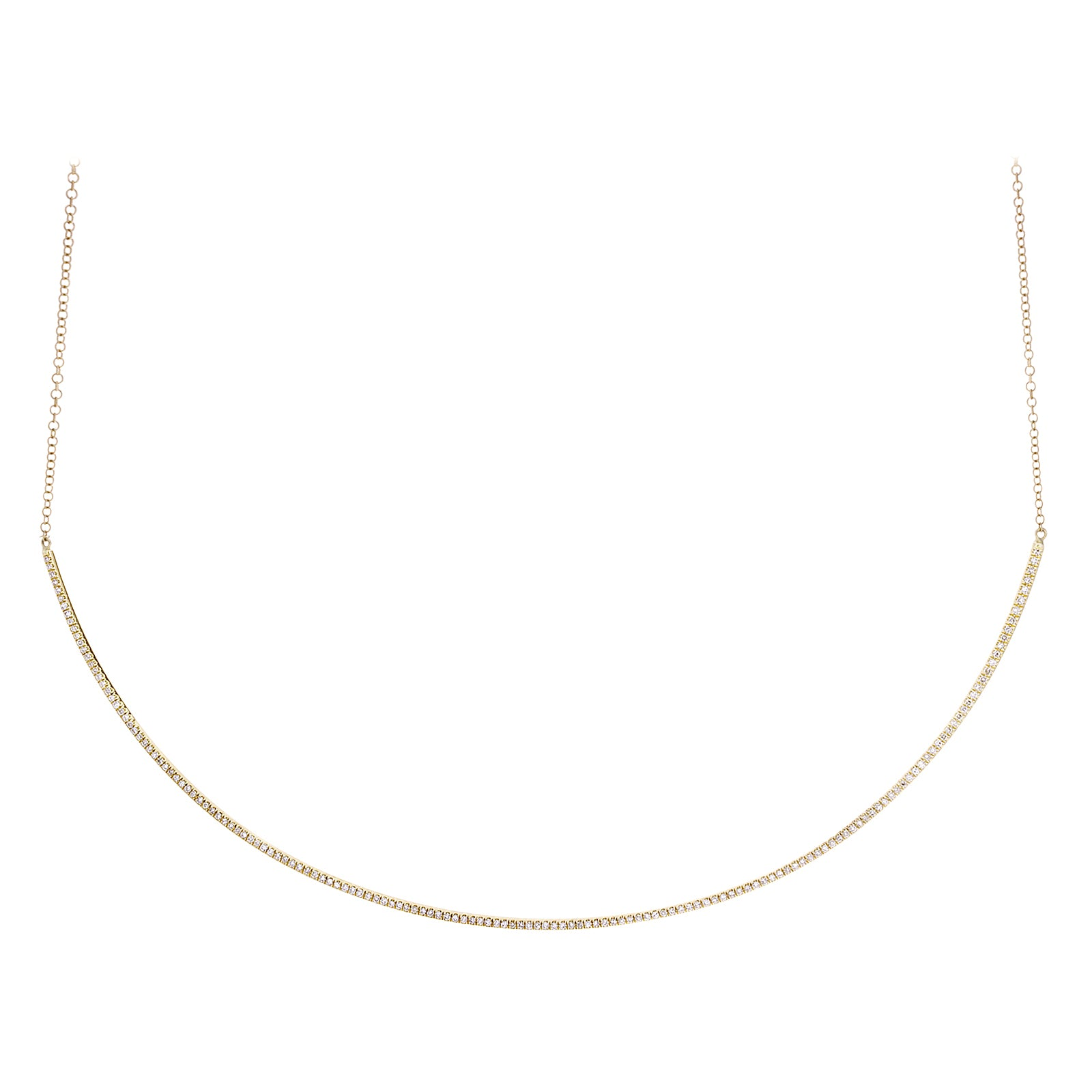 Diamonds & 14K Yellow Gold Curved Bar Necklace - SOLD/CAN BE SPECIAL ORDERED WITH 4-6 WEEKS DELIVERY TIME FRAME