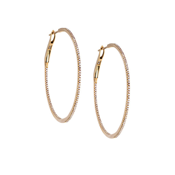 Diamond & 18K Yellow Gold Hoop Earrings - SOLD/CAN BE SPECIAL ORDERED WITH 4-6 WEEKS DELIVERY TIME FRAME