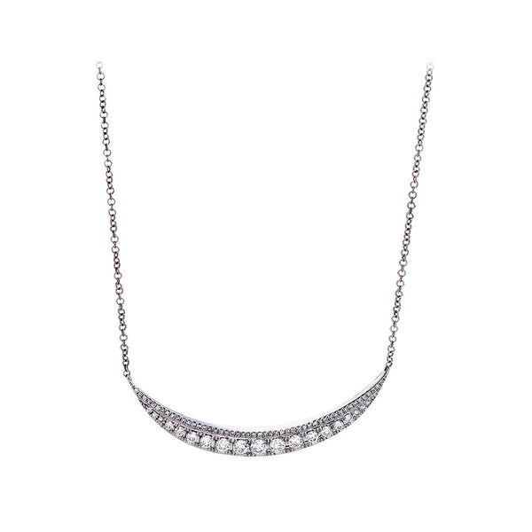Diamond & 14K White Gold Half Moon Necklace