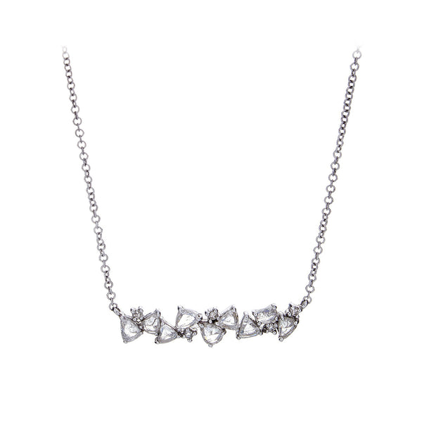 Diamond & 14K White Gold Scatter Bar Necklace