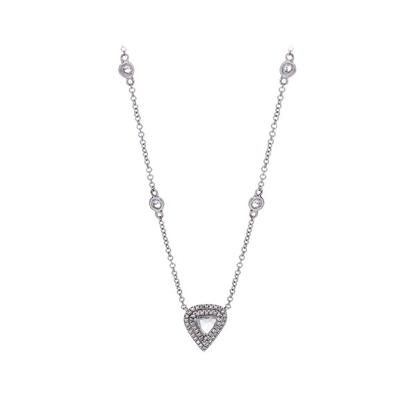 Rose Cut Diamonds, Pavé & 14K White Gold Adjustable Necklace