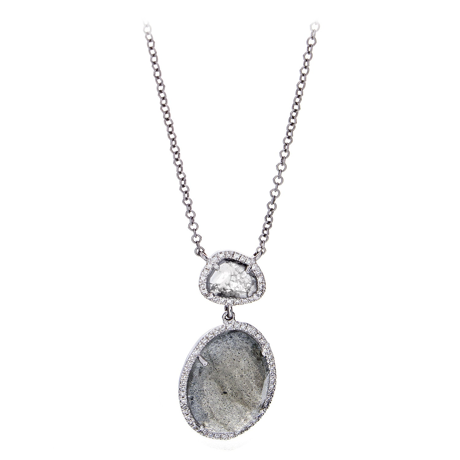 Labradorite, Sliced/Pave Diamonds & 14K White Gold Necklace - SOLD/CAN BE SPECIAL ORDERED WITH 4-6 WEEKS DELIVERY TIME FRAME