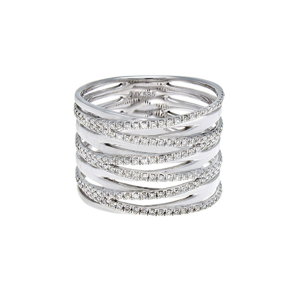 Diamond Crisscross White Gold Ring